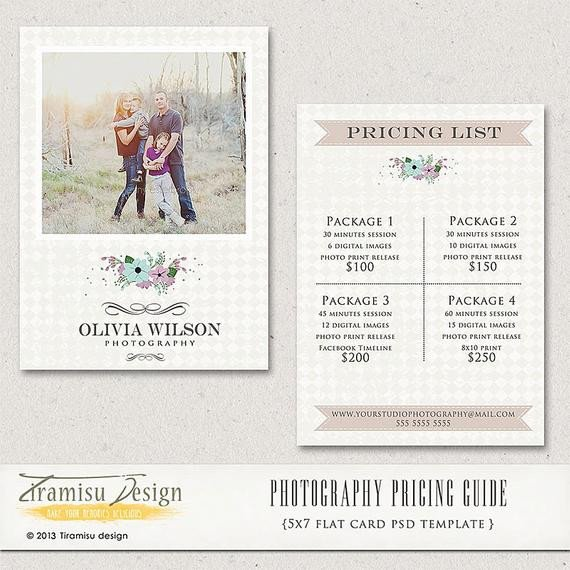 Photography Price List Template Graphy Price Guide Graphy Price List Price List