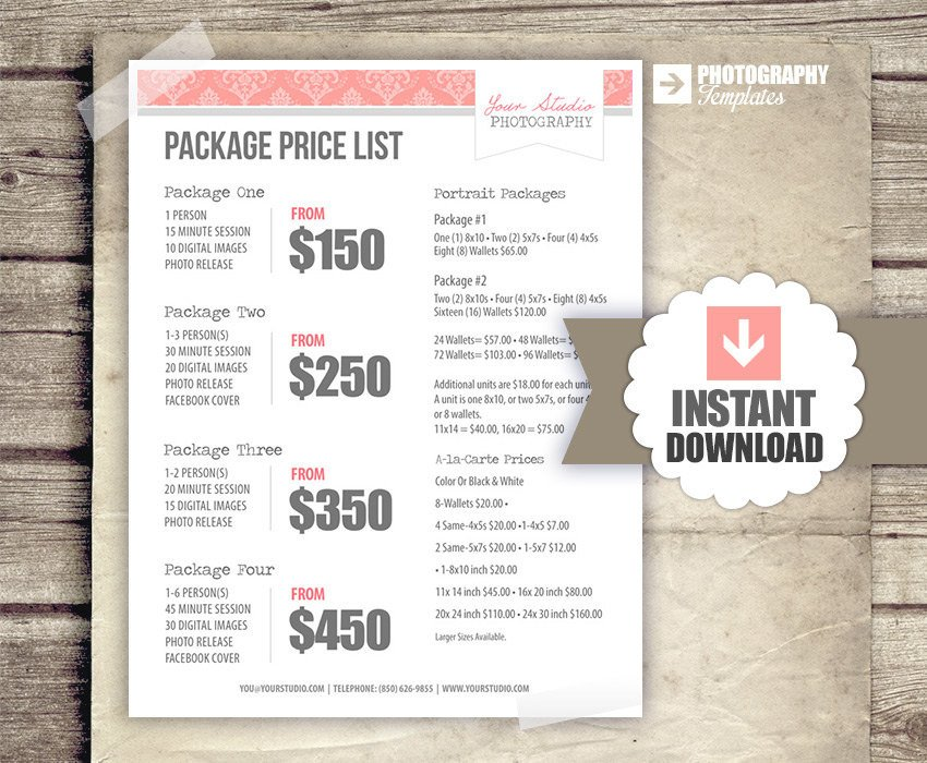 Photography Price List Template Graphy Price List Pricing List for Graphers