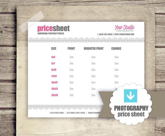 Photography Price List Template Graphy Price List Pricing Sheet for Graphers