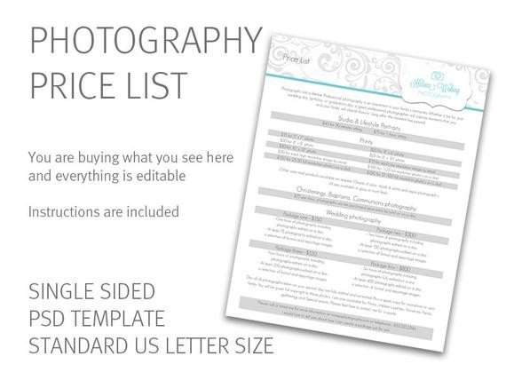 Photography Price List Template Graphy Price List Template Price Guide Photography