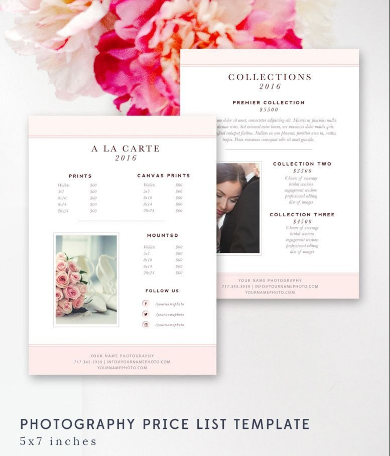 Photography Price List Template Graphy Price List Template Pricing Sheet Guide