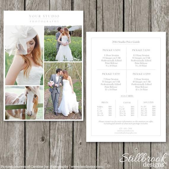 Photography Price List Template Graphy Price List Template Wedding Price Sheet