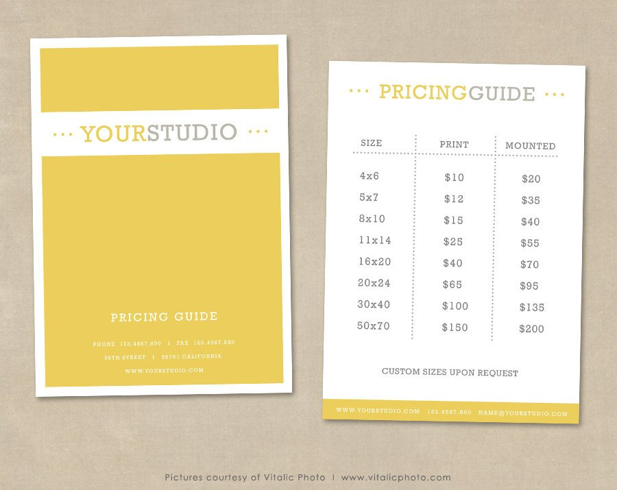 Photography Price List Template Graphy Pricing Guide Template Price List Shop