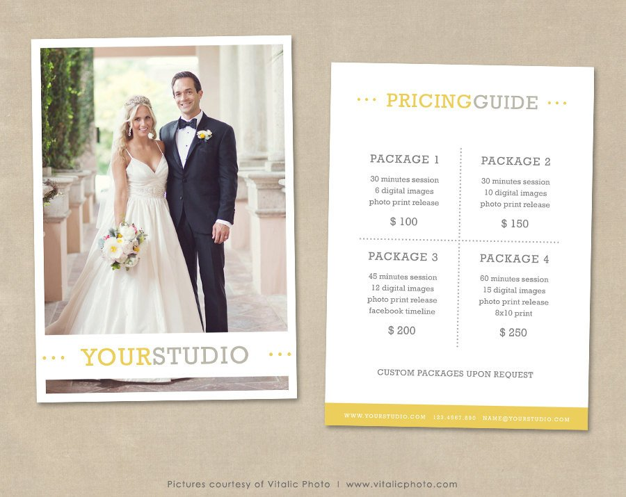 Photography Price List Template Graphy Pricing Template Price List Wedding Pricing