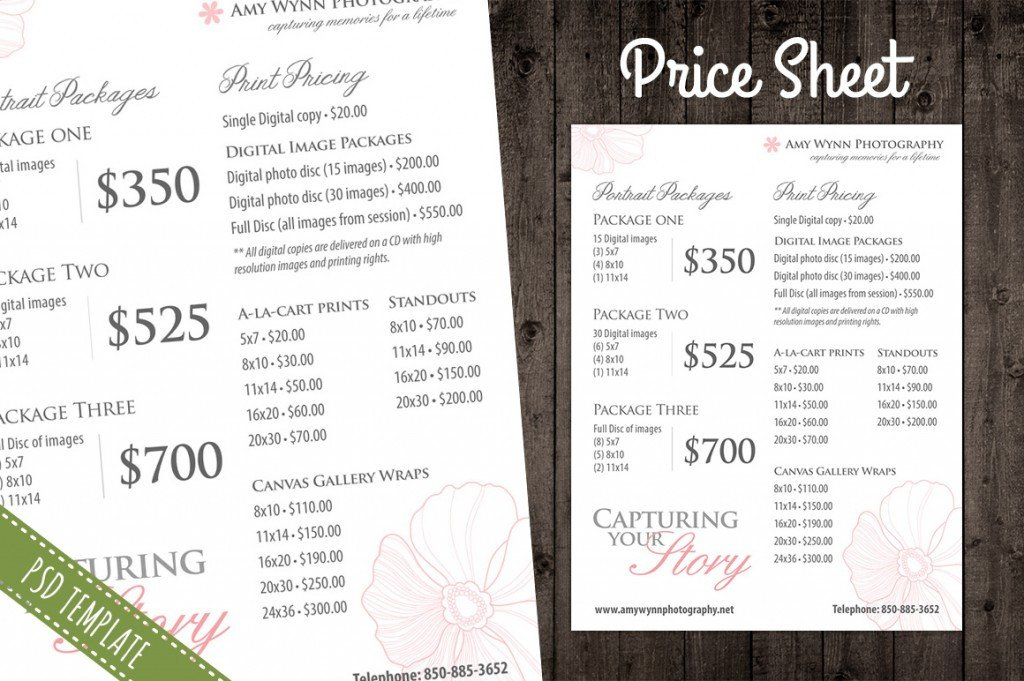 Photography Price List Template Modern Graphy Price List Template Deals