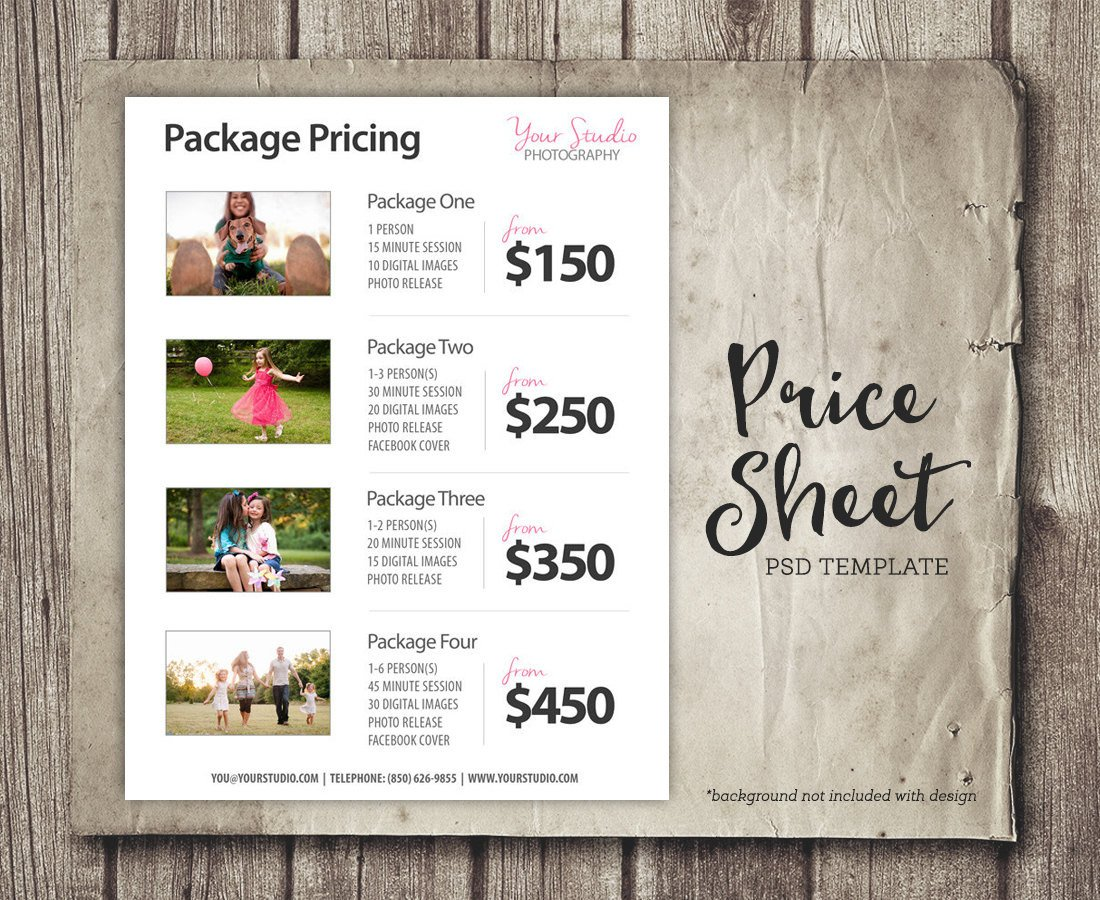 Photography Price List Template Price List Template Graphy Pricing List Sell Sheet