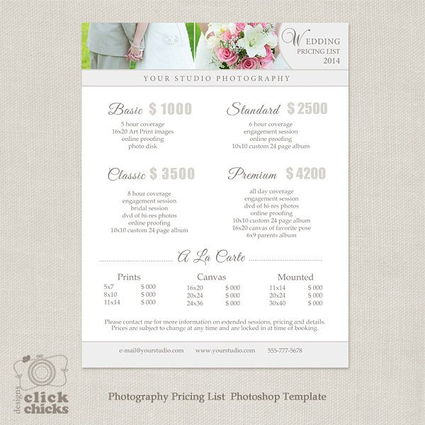 Photography Price List Template Wedding Graphy Package Pricing List Template