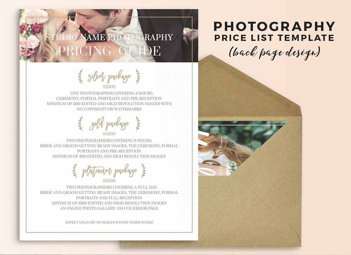 Photography Price List Template Wedding Graphy Price List Shop Template On Behance