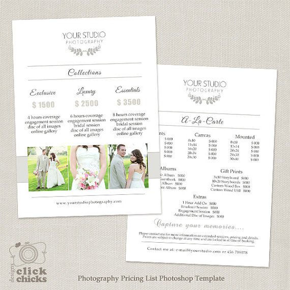 Photography Price List Template Wedding Graphy Pricing List Template Graphy