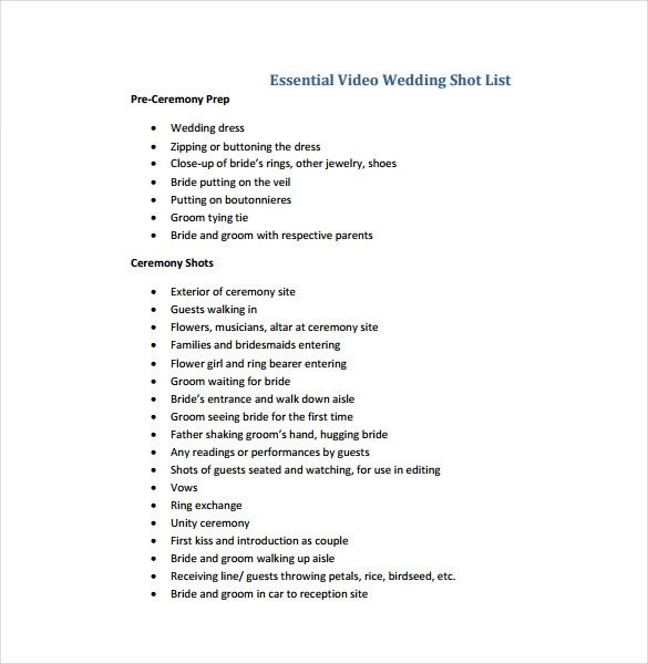 Photography Shot List Template 9 Shot List Templates Pdf Word Excel