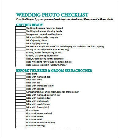 Photography Shot List Template Printable Wedding Checklist 12 Free Pdf Documents