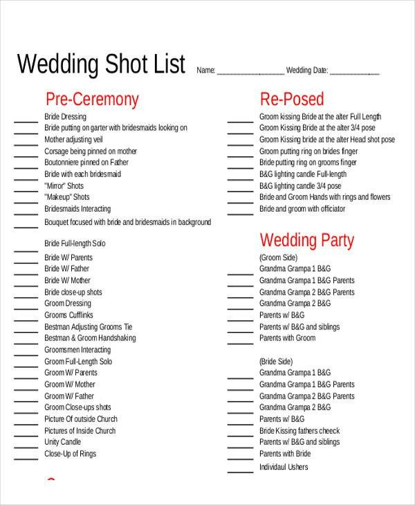 Photography Shot List Template Shot List Sample 9 Examples In Word Pdf