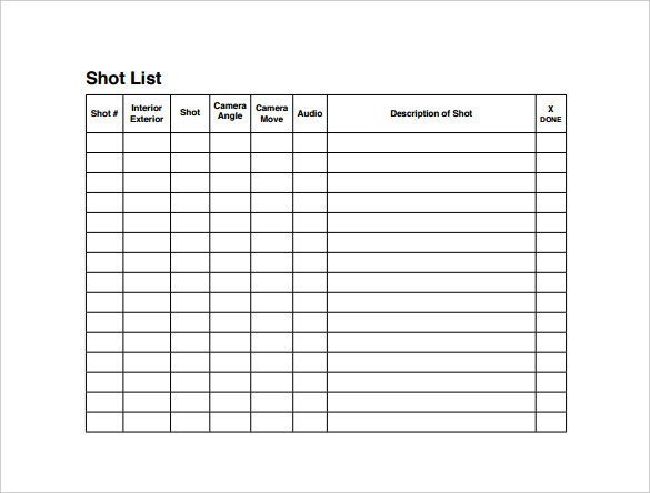 Photography Shot List Template Shot List Template 10 Download Free Documents In Word Pdf
