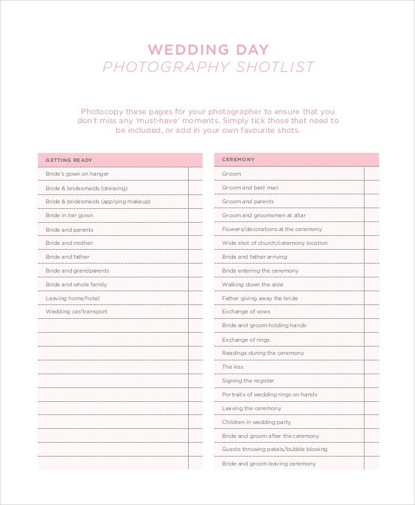 Photography Shot List Template Shot List Template 10 Free Word Pdf Psd Documents