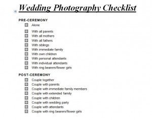 Photography Shot List Template Wedding Graphy Checklist