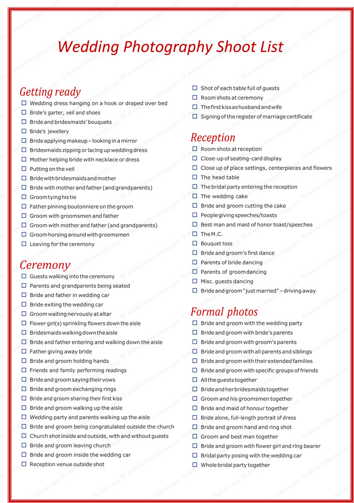 Photography Shot List Template Wedding Graphy Shot List Template for Word