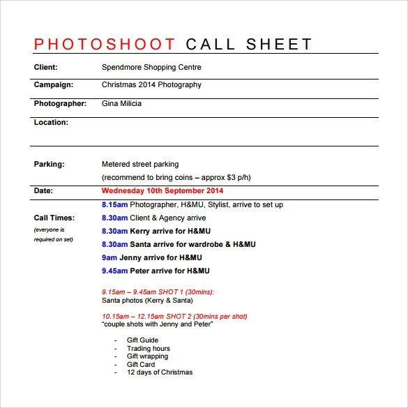 Photoshoot Call Sheet Template 8 Sample Call Sheet Templates Free Sample Example format