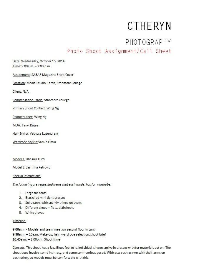 Photoshoot Call Sheet Template Call Sheet organising My Shoots