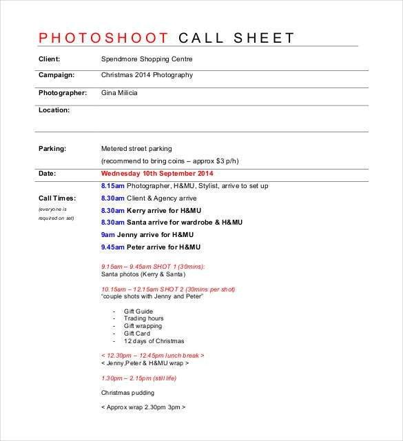 Photoshoot Call Sheet Template Call Sheet Template