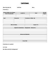 Photoshoot Call Sheet Template Shoot Call Sheet