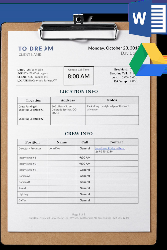 Photoshoot Call Sheet Template Simple Call Sheet Template Word Doc
