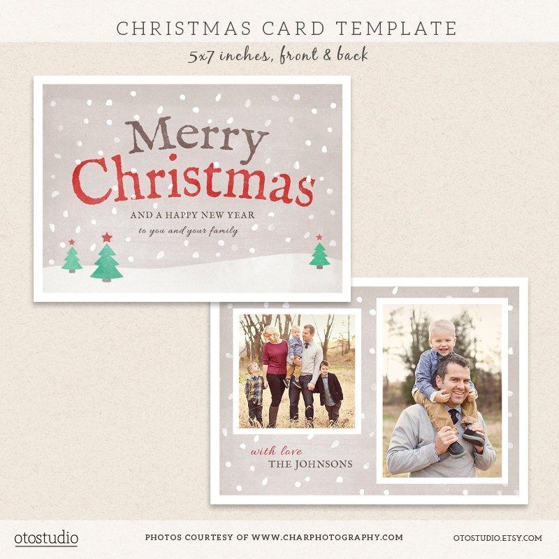 Photoshop Christmas Card Templates Digital Shop Christmas Card Template for by Otostudio