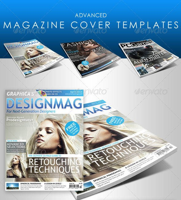 Photoshop Magazine Cover Template 25 Shop & Indesign Magazine Cover Templates