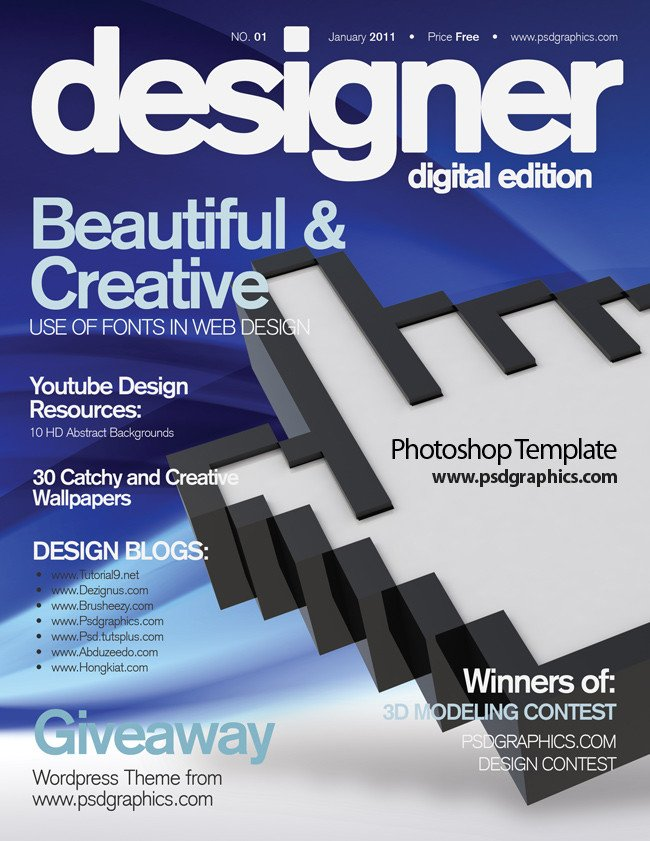 Photoshop Magazine Cover Template Blue Magazine Cover Design Psd Print Template