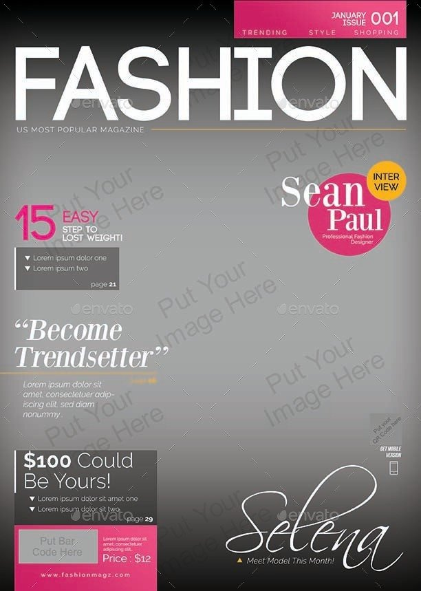 Photoshop Magazine Cover Template Magazine Cover Template