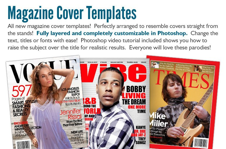 Photoshop Magazine Cover Template Premium Pack Photoshop Templates Digital Backgrounds