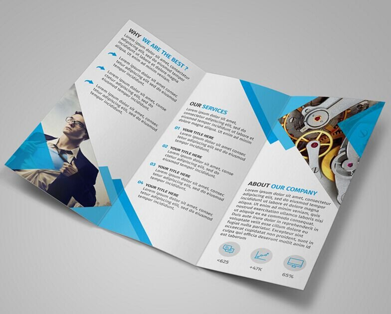 Photoshop Tri Fold Brochure Template Free Modern Blue Tri Fold Brochure Template Psd Titanui