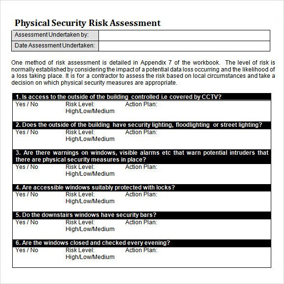 Physical Security Policy Template 10 Sample Security Risk assessment Templates Pdf Word