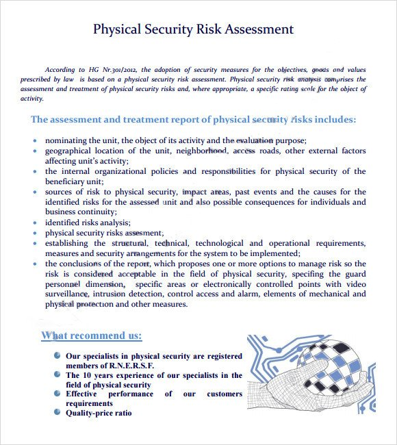 Physical Security Policy Template 7 Security Risk assessment Samples