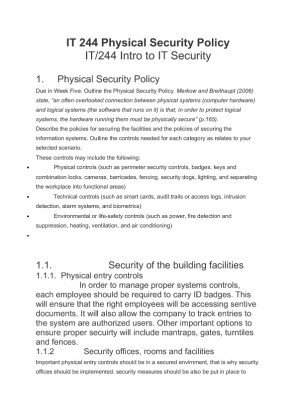 Physical Security Policy Template It 244 Physical Security Policy