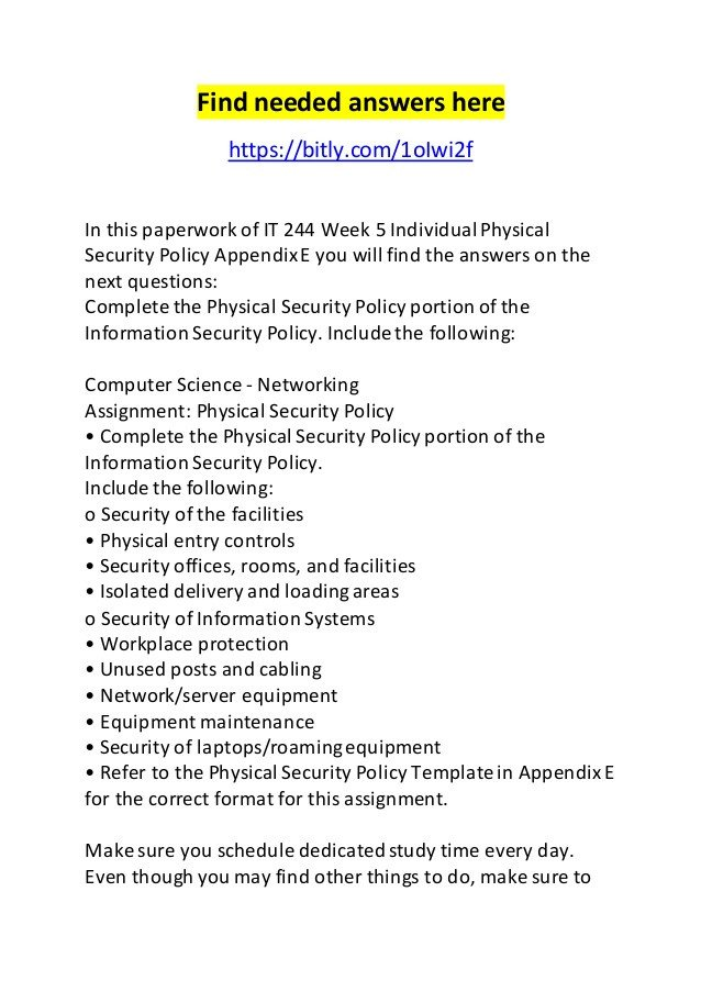 Physical Security Policy Template It 244 Week 5 Individual Physical Security Policy Appendix E