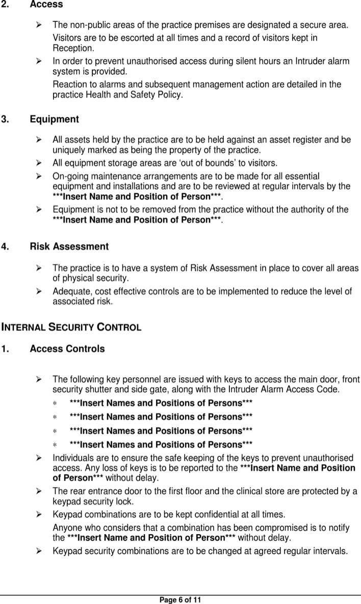 Physical Security Policy Template Physical Security Policy Template
