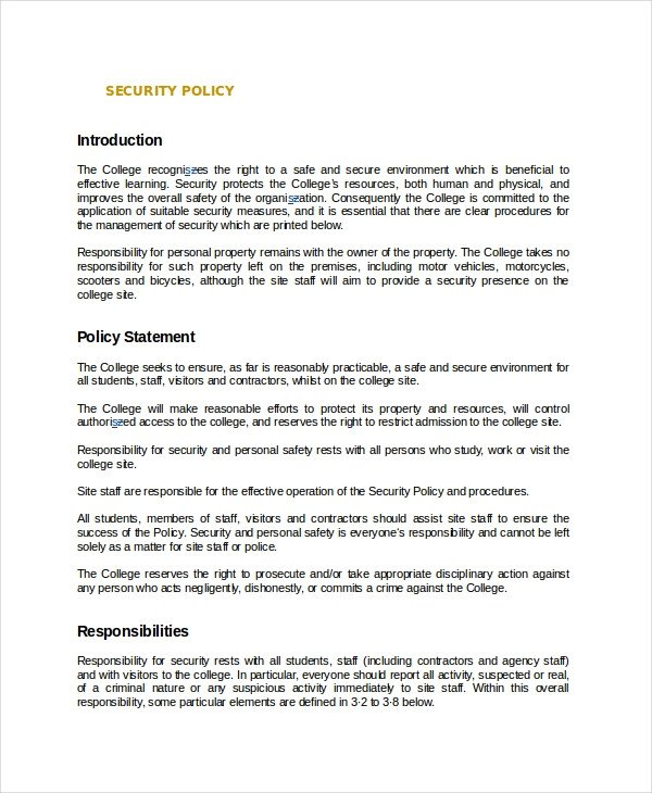 Physical Security Policy Template Policy Template 10 Free Word Pdf Document Downloads