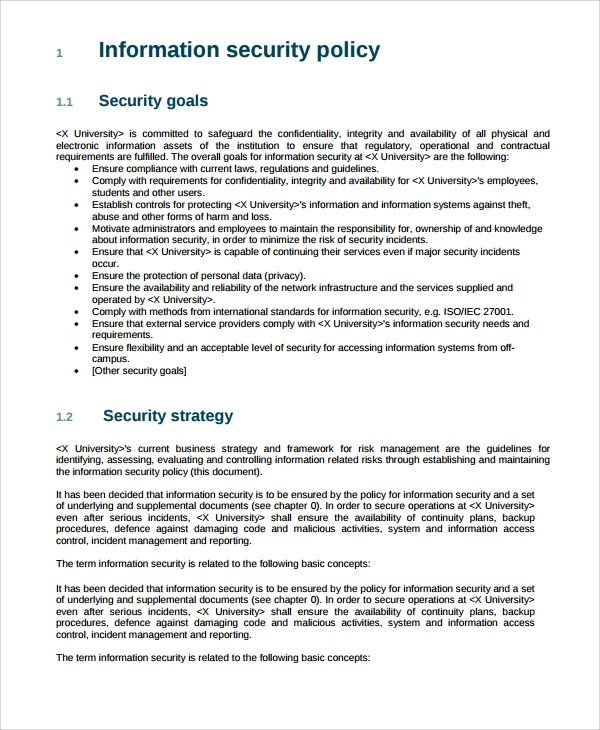 Physical Security Policy Template Sample It Security Policy Template 9 Free Documents