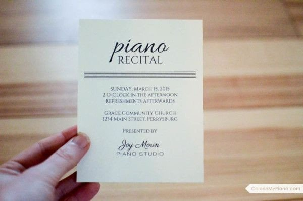 Piano Recital Certificate Template 17 Best Images About Piano Recital Invitations On