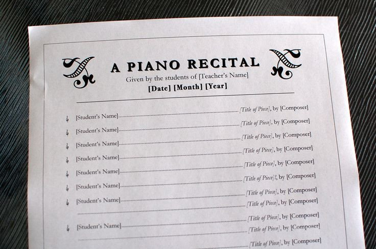 Piano Recital Certificate Template 26 Best Images About Piano Recital Invitations On