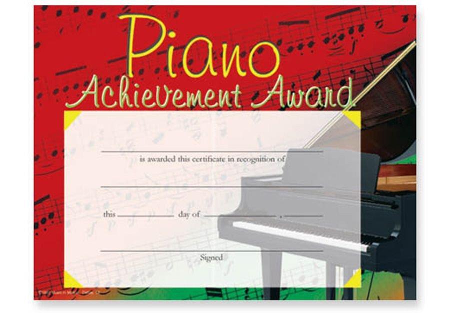 "Piano Recital Certificate Template Colorful Piano Award Certificates Pkg 25 11"" X 8½"" Pkg"