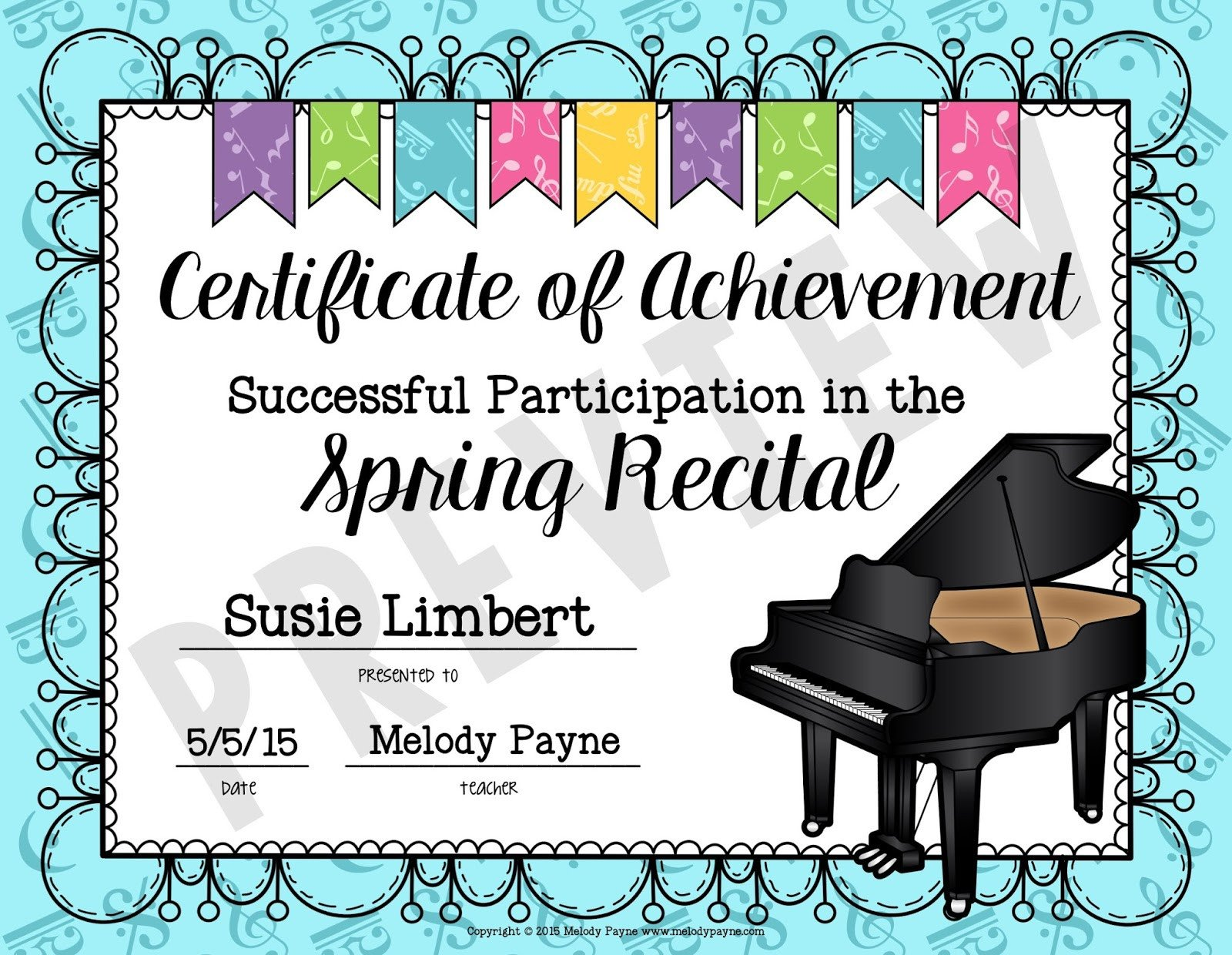 Piano Recital Certificate Template Easy Recital Prep and Gift Idea for Students