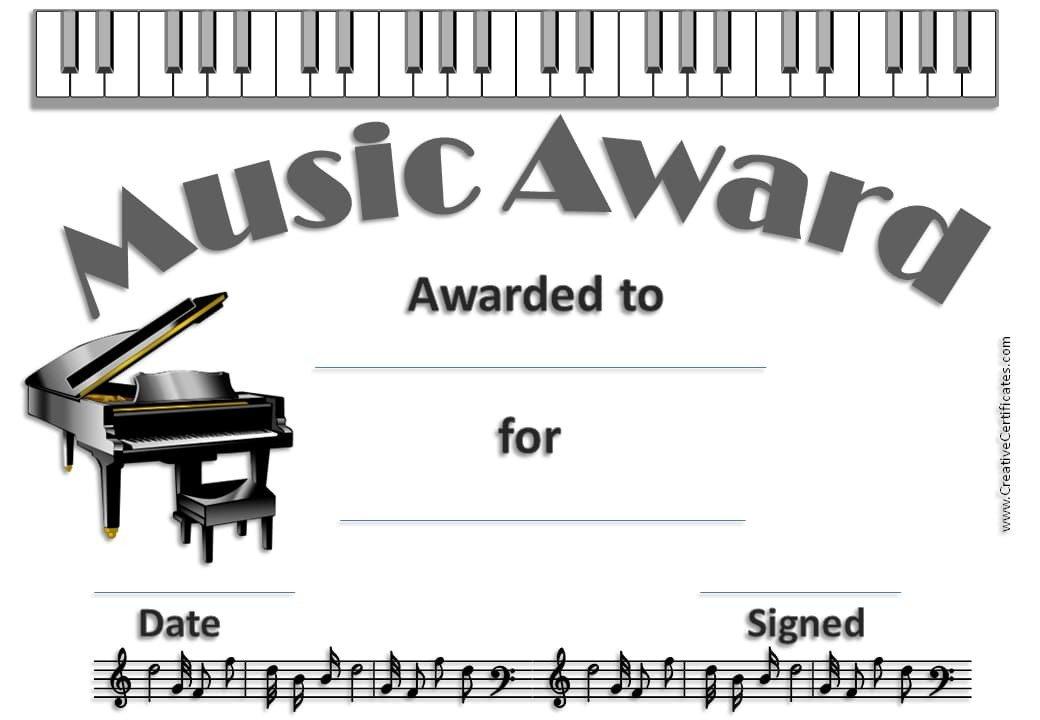Piano Recital Certificate Template Free Editable Music Certificate Template Free and