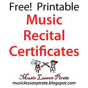 Piano Recital Certificate Template Music Lesson Pirate Music Teaching Resources Recital