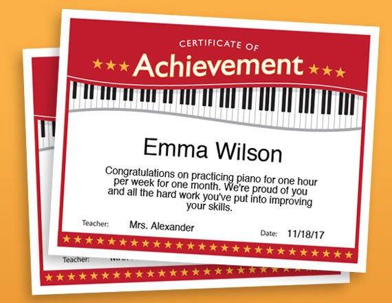 Piano Recital Certificate Template Piano Achievement Certificate Piano Award Printables Child