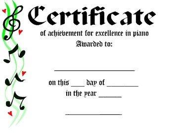 Piano Recital Certificate Template Piano Award Certificate