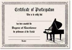 Piano Recital Certificate Template Piano Recital Certificate Genius I Always Want to Make