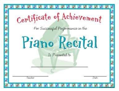 Piano Recital Certificate Template Piano Recital Certificate In A Casual Style