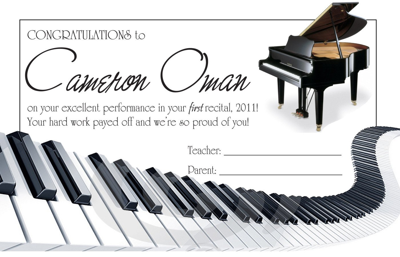 Piano Recital Certificate Template Piano Recital Certificate Newspagedesigner