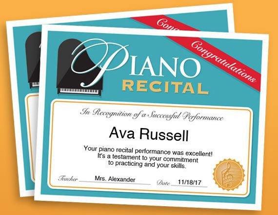 Piano Recital Certificate Template Piano Recital Certificate Piano Award Printables Child